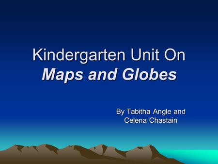 Kindergarten Unit On Maps and Globes