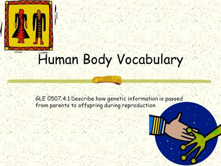 Human Body Vocabulary GLE 0507.4.1 Describe how genetic information is passed from parents to offspring during reproduction.