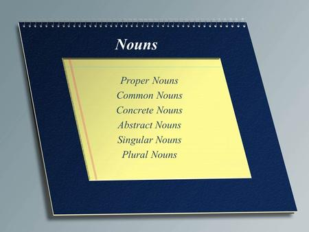 Nouns Proper Nouns Common Nouns Concrete Nouns Abstract Nouns