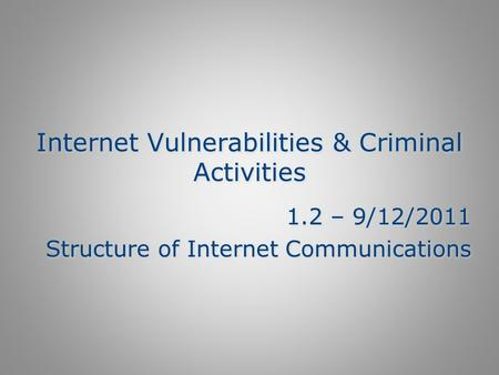 Internet Vulnerabilities & Criminal Activities 1.2 – 9/12/2011 Structure of Internet Communications 1.2 – 9/12/2011 Structure of Internet Communications.