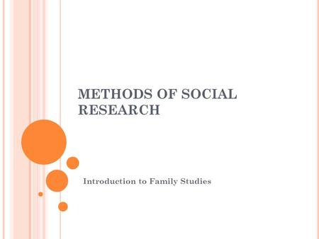 METHODS OF SOCIAL RESEARCH Introduction to Family Studies.