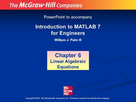 Introduction To MATLAB For Engineers Third Edition William