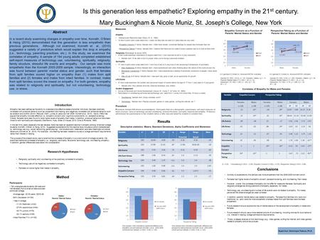 Is this generation less empathetic? Exploring empathy in the 21 st century. Mary Buckingham & Nicole Muniz, St. Joseph's College, New York Abstract In.