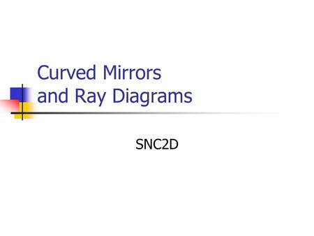 Curved Mirrors and Ray Diagrams SNC2D. Concave Mirrors A concave mirror is a curved mirror with the reflecting surface on the inside of the curve. The.
