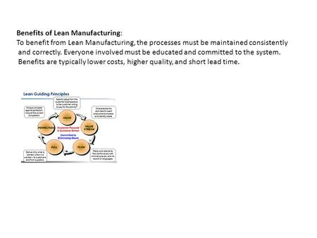 Benefits of Lean Manufacturing: To benefit from Lean Manufacturing, the processes must be maintained consistently and correctly. Everyone involved must.