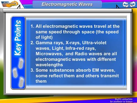 1.All electromagnetic waves travel at the same speed through space (the speed of light) 2.Gamma rays, X-rays, Ultra-violet waves, Light, Infra-red rays,