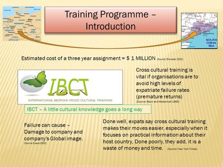 Training Programme – Introduction Training Programme – Introduction Estimated cost of a three year assignment = $ 1 MILLION (Source: Brewster 2001) Done.
