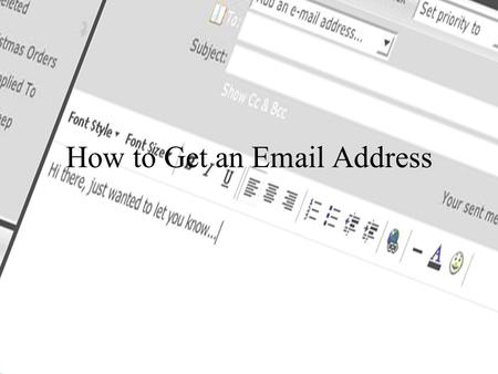 How to Get an Email Address. What is Email? Email is a way to send and receive electronic mail. You do this by setting up an email account with one of.