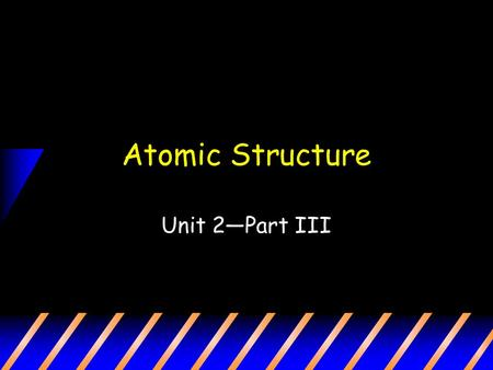 Atomic Structure Unit 2—Part III. What is an atom? Atom: the smallest unit of matter that retains the identity of the substance First proposed by Democratus.