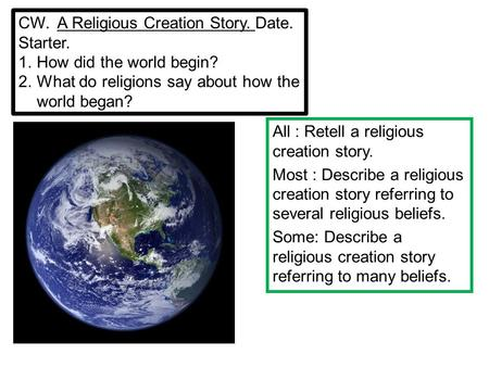 CW. A Religious Creation Story. Date. Starter. 1.How did the world begin? 2.What do religions say about how the world began? All : Retell a religious creation.