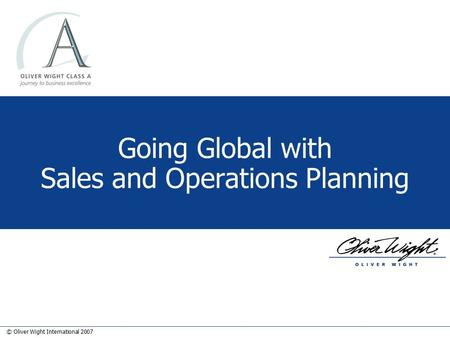 Going Global with Sales and Operations Planning