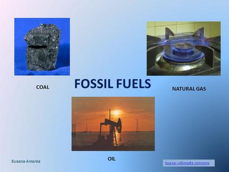 FOSSIL FUELS Source: wikimedia commons COAL OIL NATURAL GAS Susana Amorós.