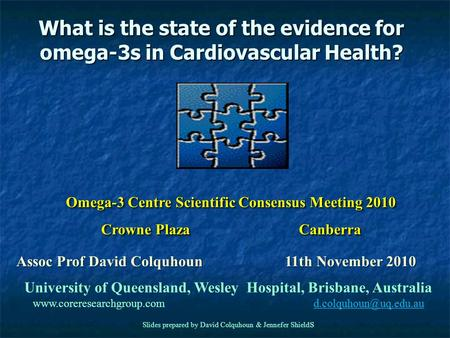 Welcome to today's webinar… Omega 3 in Cardiovascular
