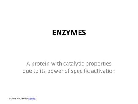 ENZYMES A protein with catalytic properties due to its power of specific activation © 2007 Paul Billiet ODWS.
