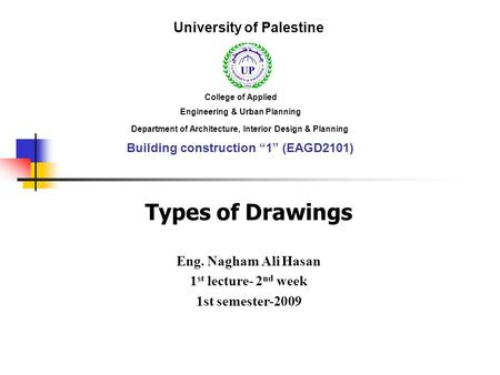 Types of Drawings University of Palestine Eng. Nagham Ali Hasan