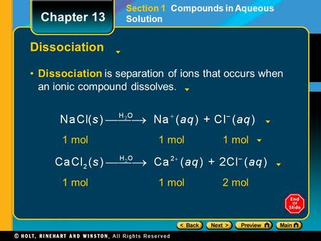 Section 1  Compounds in Aqueous Solution