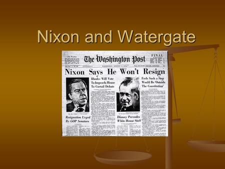Nixon and Watergate. The Election of 1968 Richard Nixon narrowly won the 1968 election, but the combined total of votes for Nixon and Wallace indicated.