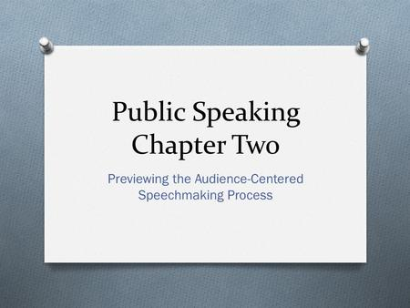 Public Speaking Chapter Two