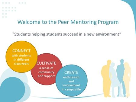 "Welcome to the Peer Mentoring Program ""Students helping students succeed in a new environment"" CULTIVATE a sense of community and support CONNECT with."