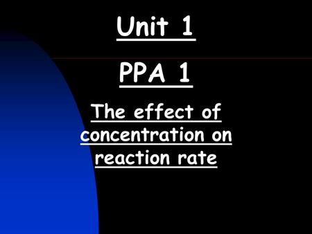 The effect of concentration on reaction rate
