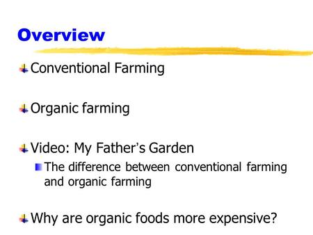 Overview Conventional Farming Organic farming Video: My Father's Garden The difference between conventional farming and organic farming Why are organic.