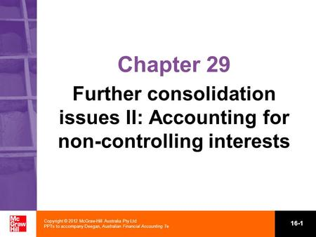 Chapter 29 Further consolidation issues II: Accounting for non-controlling interests 1.