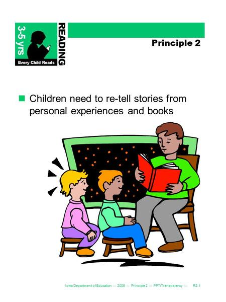 Iowa Department of Education ::: 2006 ::: Principle 2 ::: PPT/Transparency :::R2-1 Principle 2 Children need to re-tell stories from personal experiences.