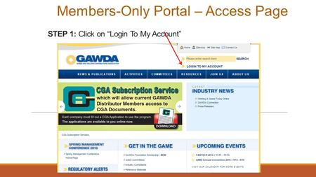 "STEP 1: Click on ""Login To My Account"" Members-Only Portal – Access Page."