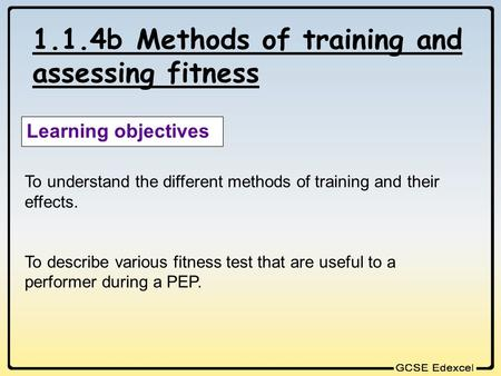 1.1.4b Methods of training and assessing fitness