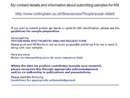 My contact details and information about submitting samples for MS