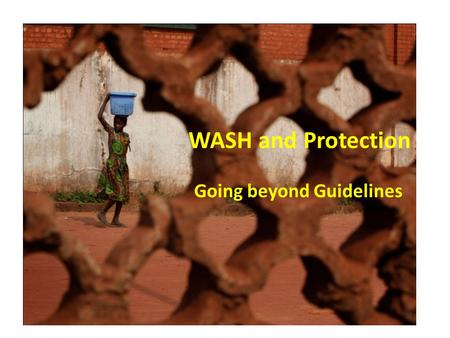 WASH and Protection Going beyond Guidelines. Progress made on the Gender Markers target & Achievements of the cluster Increased interest of several national.
