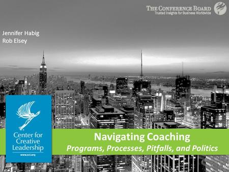 Navigating Coaching Programs, Processes, Pitfalls, and Politics Jennifer Habig Rob Elsey.