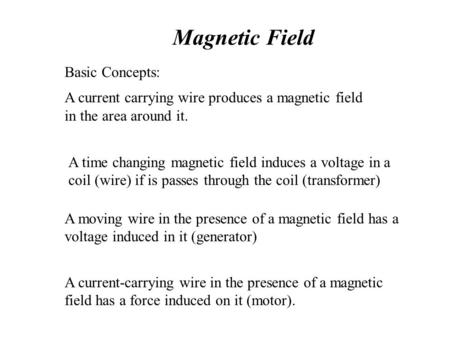Magnetic Field Basic Concepts: