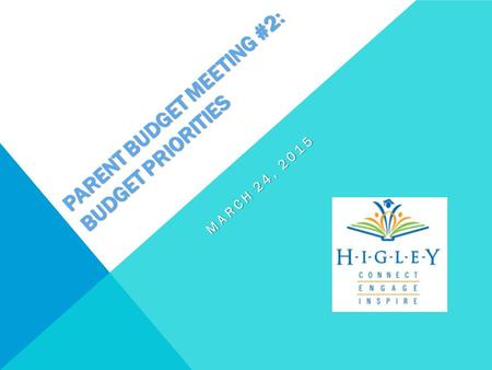 PARENT BUDGET MEETING #2: BUDGET PRIORITIES MARCH 24, 2015.