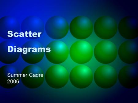 Scatter Diagrams Summer Cadre 2006. What is a Scatter Diagram? A Scatter Diagram is used to confirm a relationship between two variables. A Scatter Diagram.