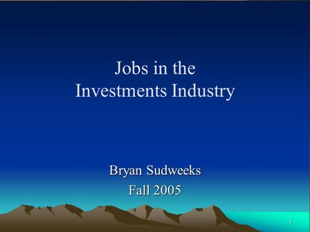 Jobs in the Investments Industry
