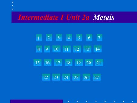 Intermediate 1 Unit 2a Metals 1 23 4567 89 10 111213 14 15 22 23242526 27 161718192021.