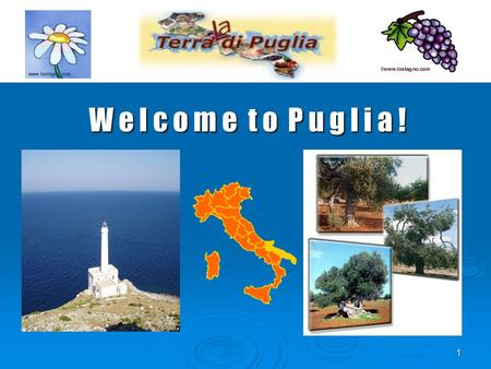 1 W e l c o m e t o P u g l i a !. 2 Our Region and our country Geography Puglia is a region in Southern Italy. Its population amounts to 4.000.000 million.