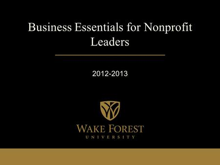 Business Essentials for Nonprofit Leaders 2012-2013.