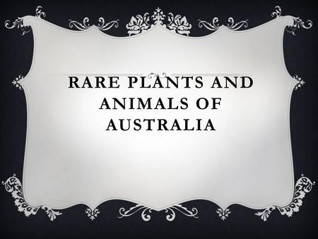 RARE PLANTS AND ANIMALS OF AUSTRALIA. INTRODUCTION Australia has many endemic species of rare plants and animals. Some of animals are kangaroos, platypuses,