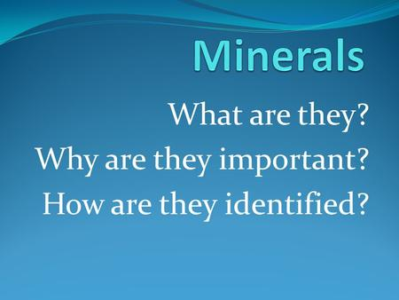 What are they? Why are they important? How are they identified?