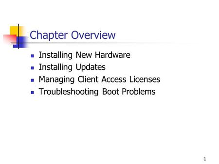 1 Chapter Overview Installing New Hardware Installing Updates Managing Client Access Licenses Troubleshooting Boot Problems.