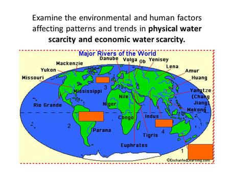 Examine the environmental and human factors affecting patterns and trends in physical water scarcity and economic water scarcity. 3 2 4 1.