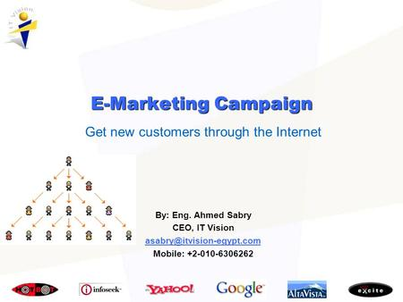 Get new customers through the Internet By: Eng. Ahmed Sabry CEO, IT Vision Mobile: +2-010-6306262 E-Marketing Campaign.