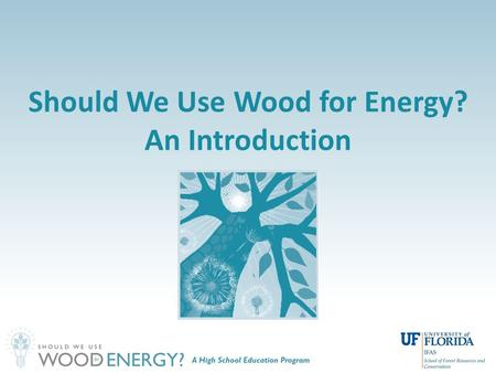 Should We Use Wood for Energy? An Introduction. Brief History: Energy in the U.S. Source: EIA, 2007.