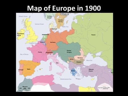 Map of Europe in 1900.