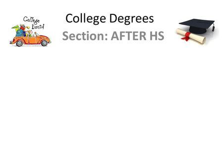 College Degrees Section: AFTER HS.