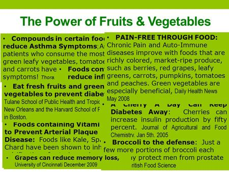 The Power of Fruits & Vegetables Fruits and Veggies Increase Visual Function and May prevent Eye Diseases, Journal of Food Science 2009 Lutein and Zeaxanthin.