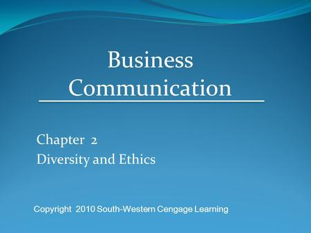 Chapter 2 Diversity and Ethics
