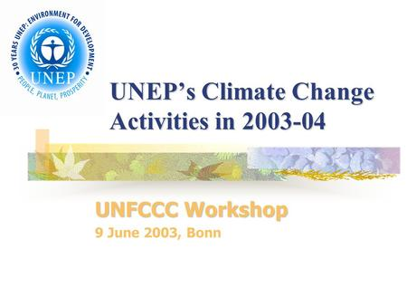 UNEP's Climate Change Activities in 2003-04 UNFCCC Workshop 9 June 2003, Bonn.